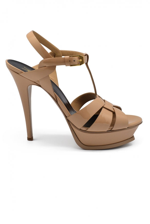 Luxury shoes for women - Saint Laurent Tribute sandals beige high heel