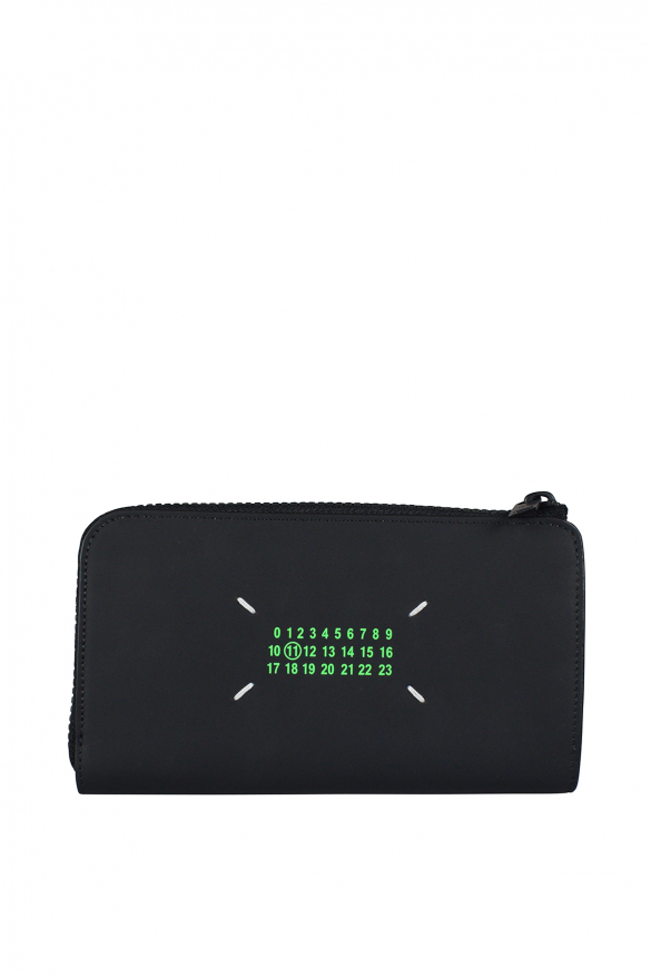 Men's luxury wallet - Maison Margiela black wallet with neon green prints