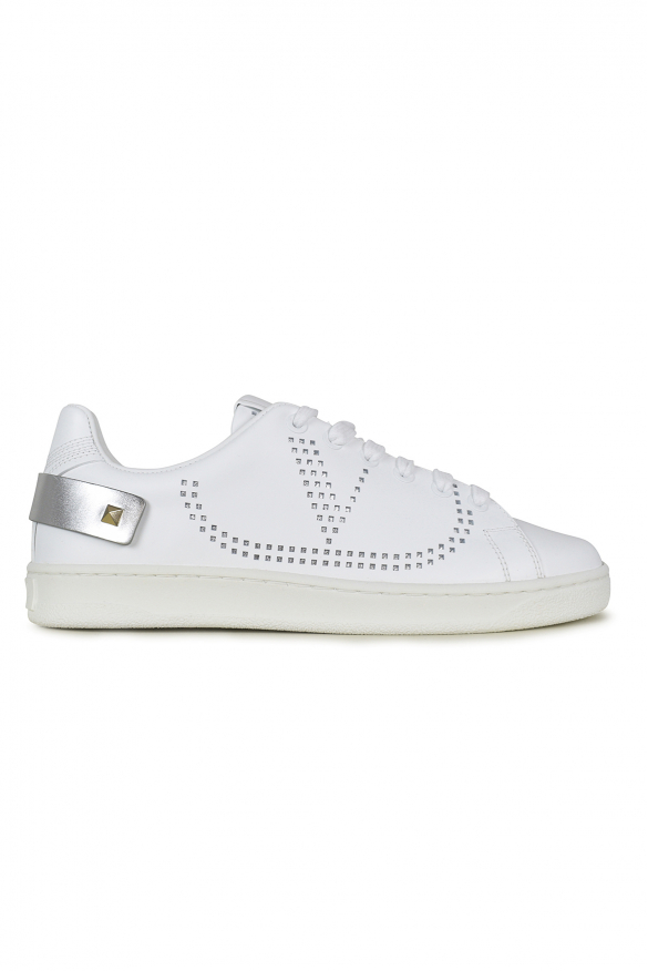 Women's luxury sneakers - Valentino Backnet sneakers in white leather with silver details