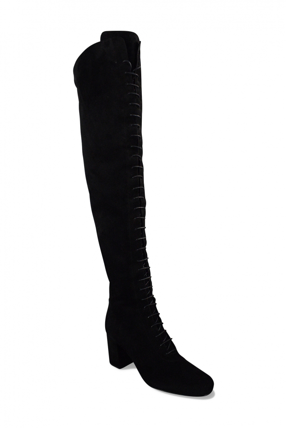 Luxury shoes for women - Saint Laurent lace-up boots in black suede