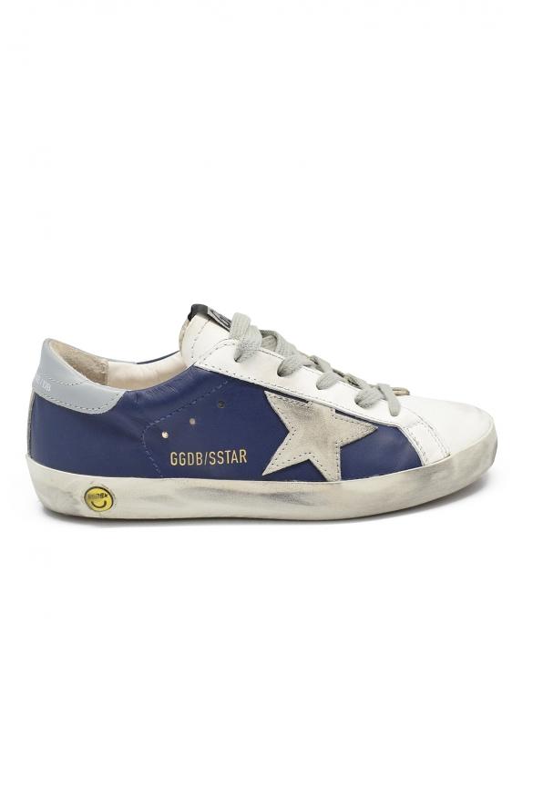 Golden Goose kids - Golden Goose Superstar blue and grey sneakers
