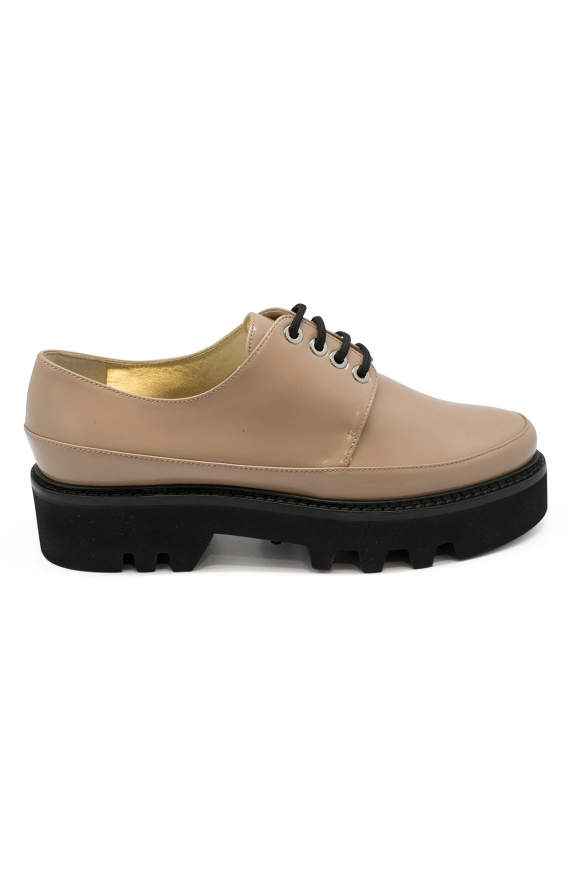 Luxury shoes for women - Walter Steiger Smoking beige lace-up shoes black details