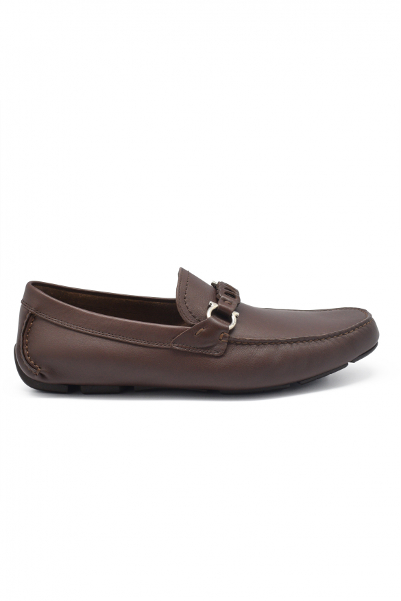 Men's luxury moccasins - Salvatore Ferragamo Driver Gancini model moccasins in chocolate leather