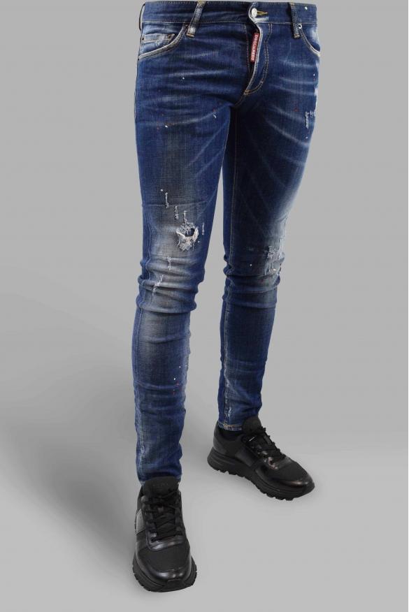 Men's designer jeans - Dsquared2 dark blue faded Slim Jean