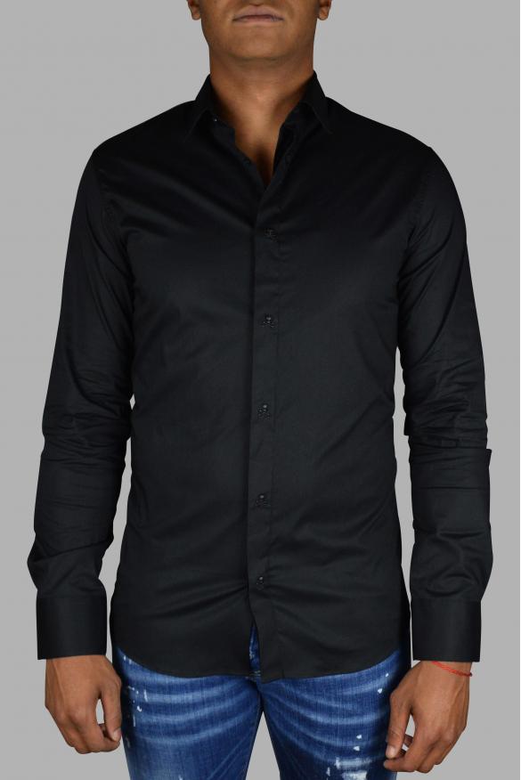 Men's luxury shirt - LS Skull Philipp Plein black shirt with buttons