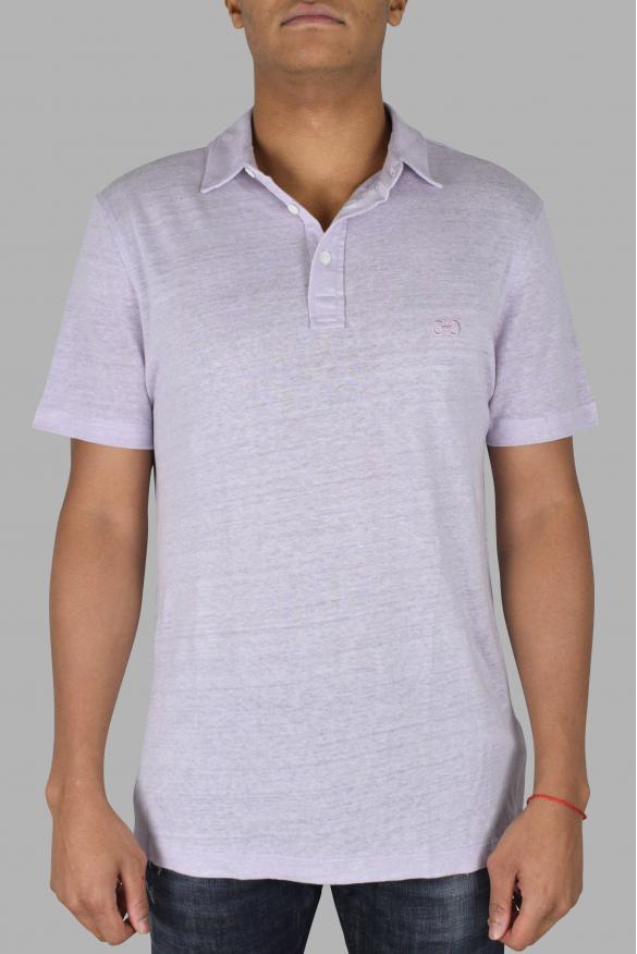 Men's designer polo - Salvatore Ferragmo light purple linen polo