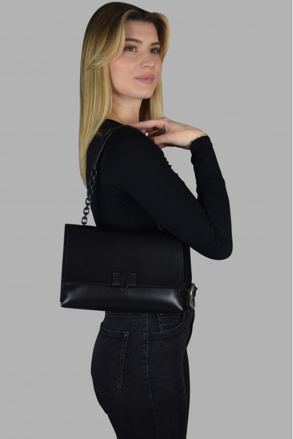 Luxury bag - Off-White black leather shoulder bag with clip