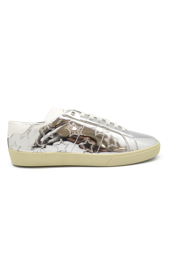 Men's luxury sneakers - Saint Laurent Court Classic SL/06 sneakers in silver leather with stars details