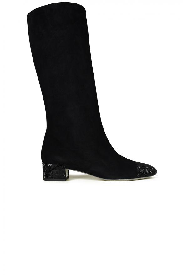 Women's luxury boots - Black suede Rene Caovilla boots