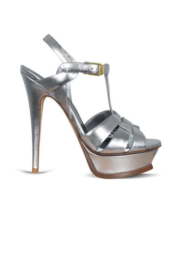 Luxury shoes for women - Saint Laurent Tribute silver metallic leather sandals