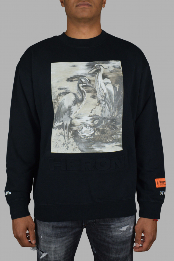 Luxury sweater for men - Heron Preston black sweater with graphic print