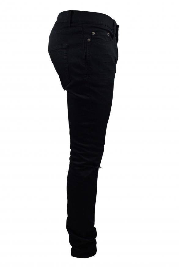 Men's designer jeans - Saint Laurent black Slim jean with holes