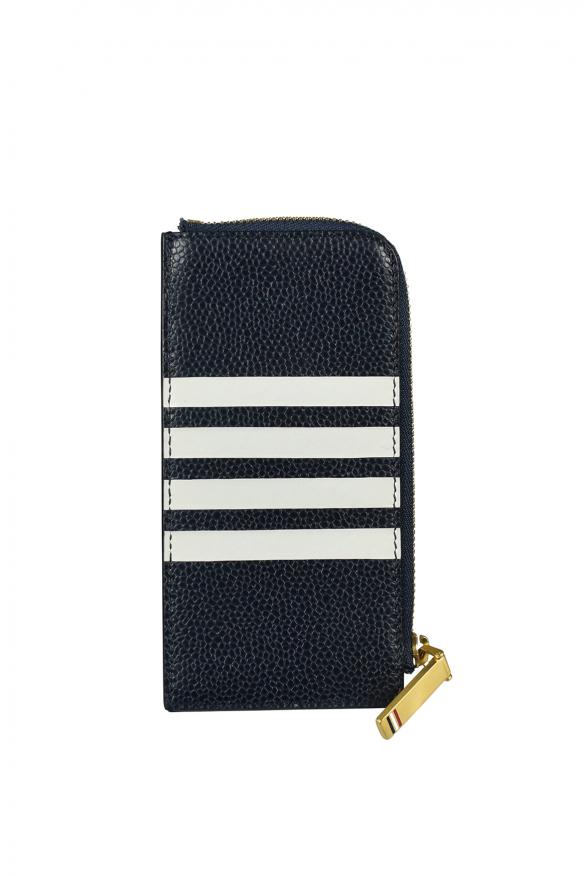 Men's luxury wallet - navy blue zipped card holder Thom browne