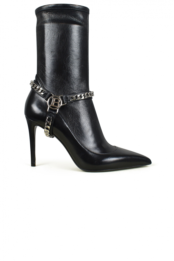 Women's luxury boots - Balmain black leather ankle boots with silver chain