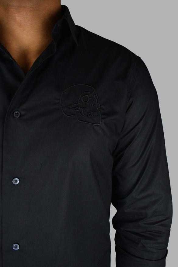 Men's luxury shirt - Gold Cut LS Skull Philipp Plein black shirt with embroidered skull