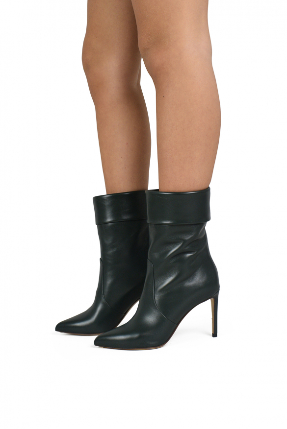 Women's luxury ankle boots - Francesco Russo green leather ankle boots