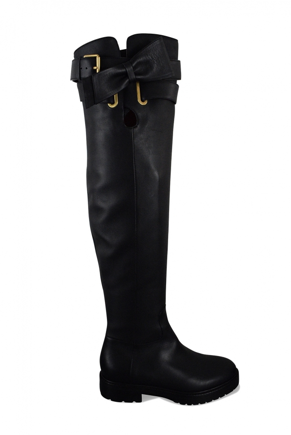 Luxury shoes for women - Valentino black over-the-knee bow-tie boots