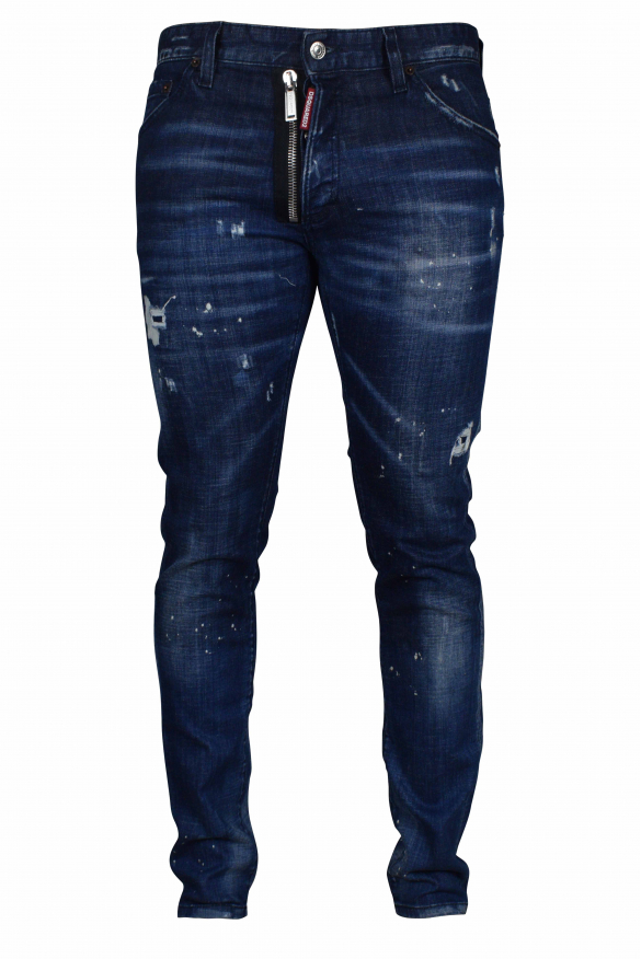 Luxury jeans for men - Cool Guy Dark blue jeans with black patch