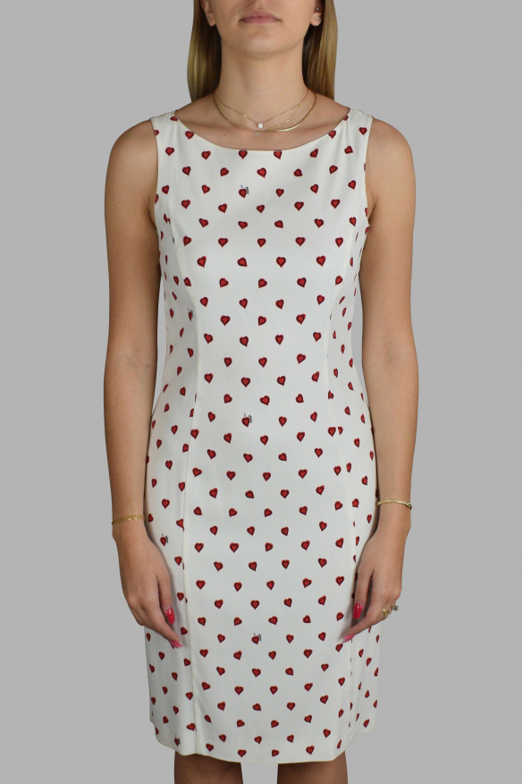 Luxury dress for women - Prada white dress with red heart patterns