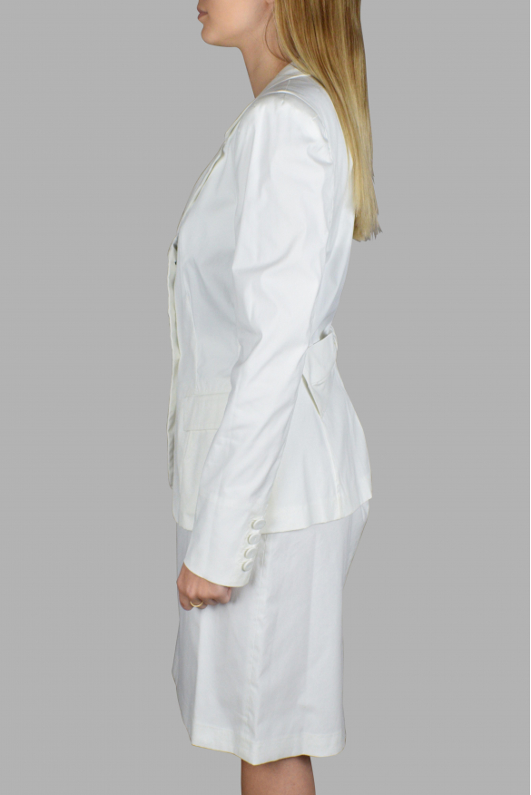 Women's luxury suit - Prada white suit with jacket and slit skirt