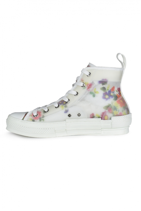 Men's luxury sneakers - Dior model B23 white sneakers with floral pattern