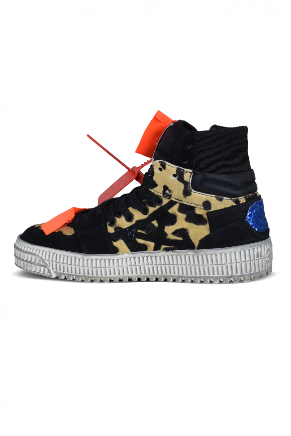 Luxury sneakers for women - Off Court 3.0 sneakers black and leopard pattern
