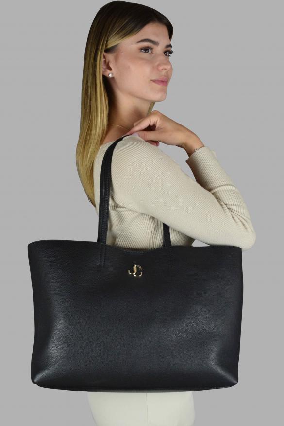 Luxury handbag - Nine2five Jimmy Choo handbag in black grained leather
