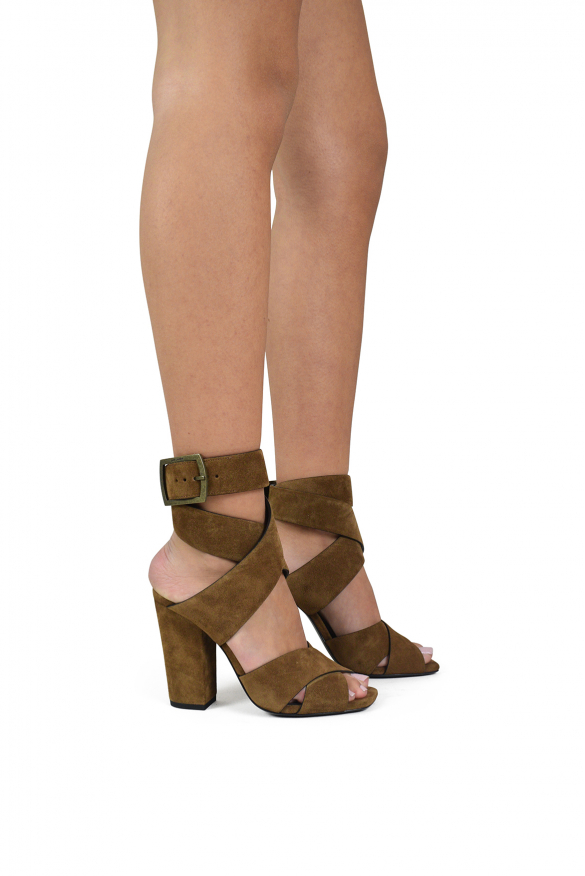 Luxury shoes for women - Saint Laurent sandals in camel suede and double buckle
