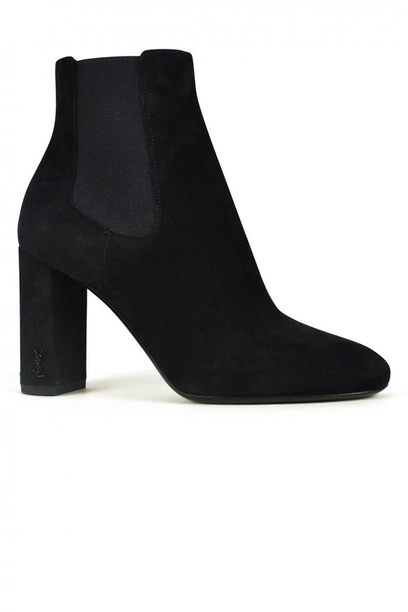 Women luxury shoes - Saint Laurent Loulou ankle boots in black suede