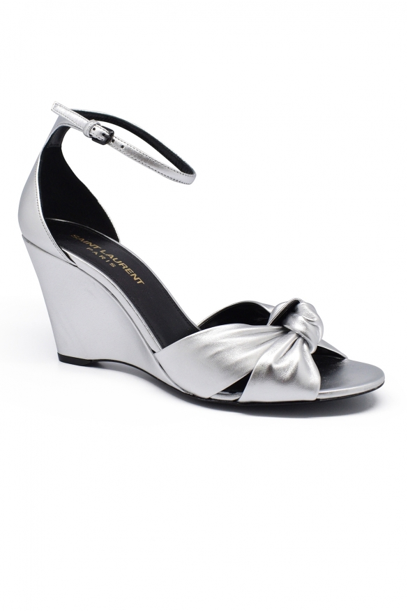 Luxury shoes for women - Saint Laurent Bianca in silver leather sandals