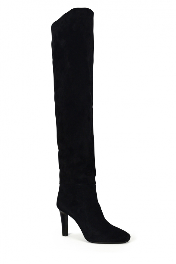 Women's luxury thigh-high boots - Saint Laurent model Jane thigh-high boots in black suede