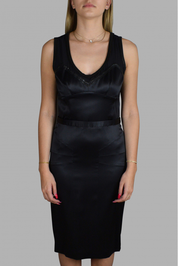 Luxury dress for women - Dolce & Gabbana black shiny and transparent dress