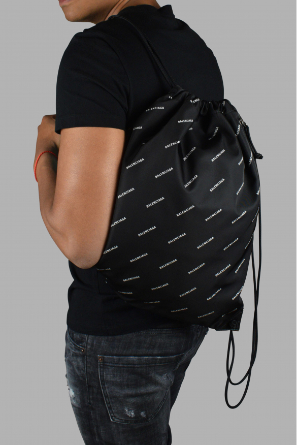 Luxury backpack - Balenciaga backpack with all-over logo drawstrings