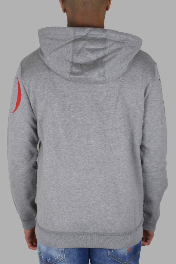 Men's brand sweatshirt - Valentino grey sweatshirt with zip and hood