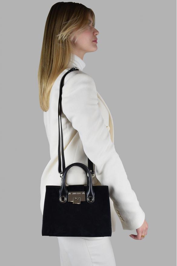 Luxury handbag - Jimmy Choo Mini Riley model handbag in black suede