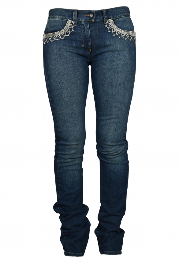 Luxury jeans for women - Jean Yves Saint Laurent blue with rhinestones on the pockets