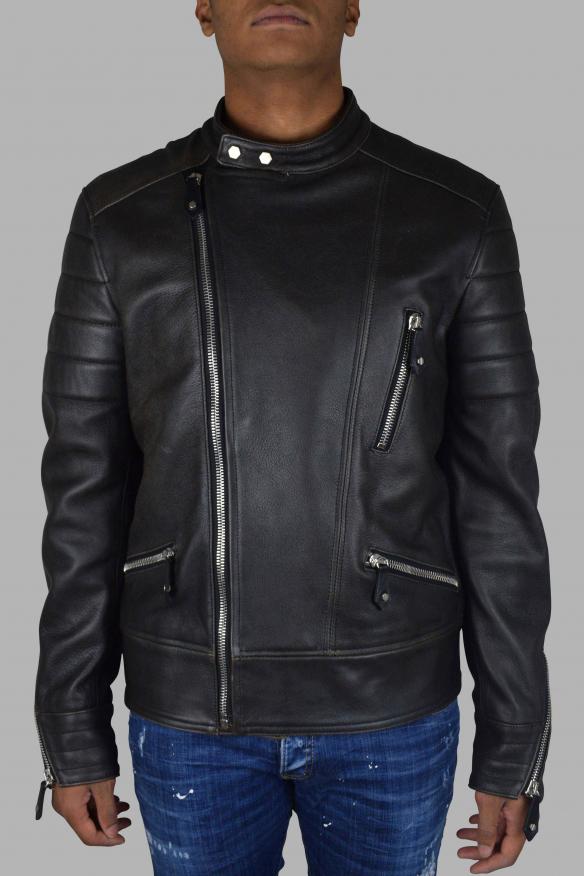Men's luxury jacket - Philipp Plein biker jacket in black leather