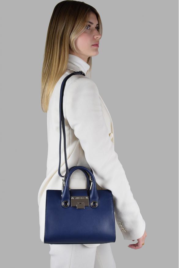 Luxury handbag - Jimmy Choo Mini Riley model handbag in blue leather