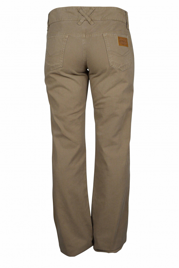 Luxury trousers for women - Dolce & Gabbana brown trousers with leather logo