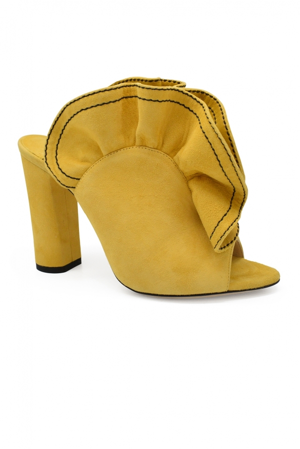 Luxury shoes for women - Jimmy Choo Haile 100 mules in yellow suede