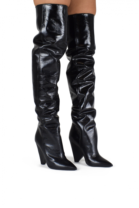Luxury shoes for women - Saint Laurent Niki 105 boots in black leather