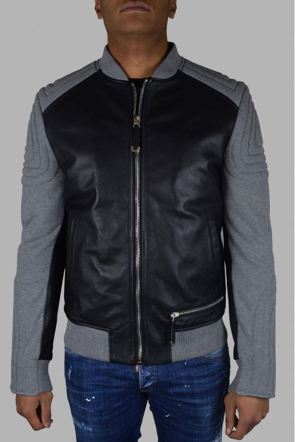 Men's luxury jacket - Philipp Plein bomber in black leather and gray fabric