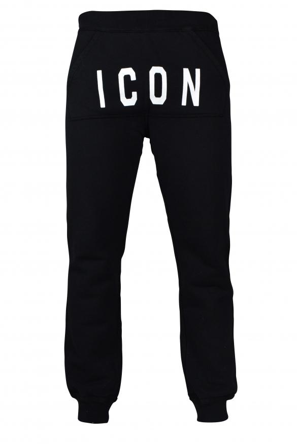 Men's designer jogging - Black cotton Icon track pants from Dsquared2.