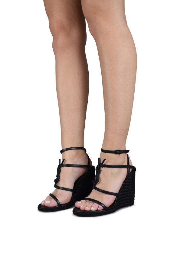 Women's luxury espadrilles - Saint Laurent Cassandra black espadrilles hessian heel