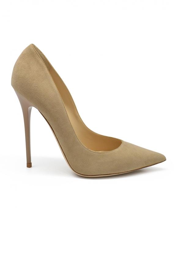 Luxury shoes for women - Jimmy Choo Anouk pumps in beige suede