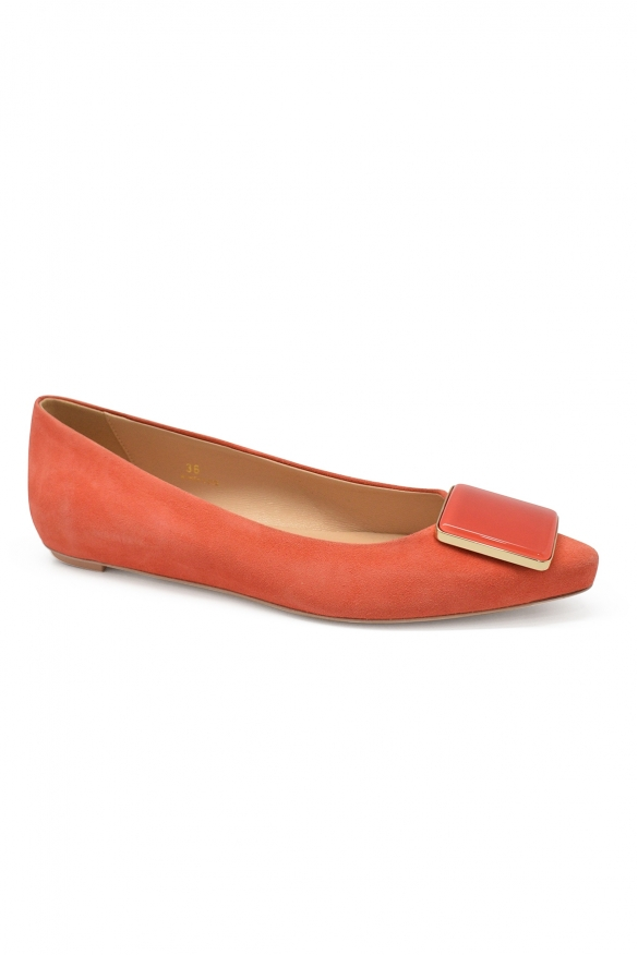 Luxury shoes for women - Tod's ballets flats in orange suede