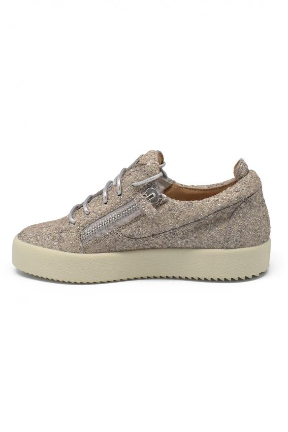 Woman luxury shoes - Giuseppe Zanotti Cheryl Glitter beige sneakers