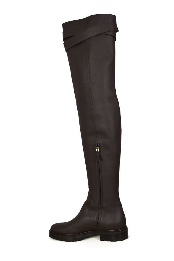 Women luxury shoes - Valentino brown over-the-knee bow-tie boots