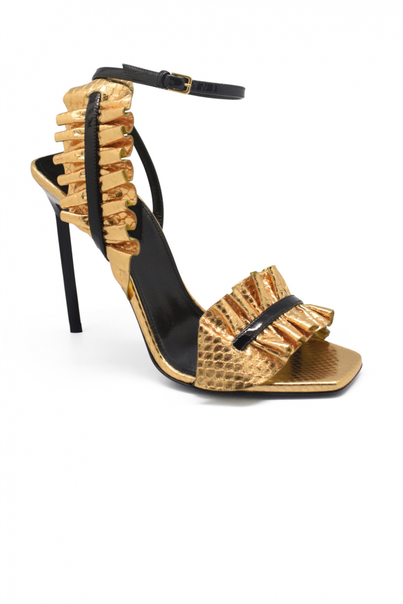 Luxury shoes for women - Saint Laurent sandals in pleated golden leather