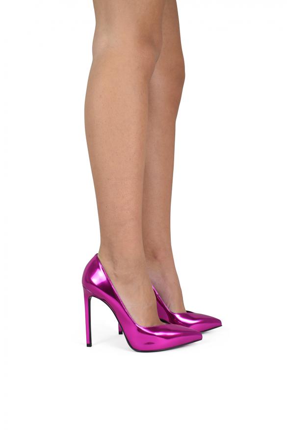 Luxury shoes for women - Saint Laurent Paris pumps in silver leather